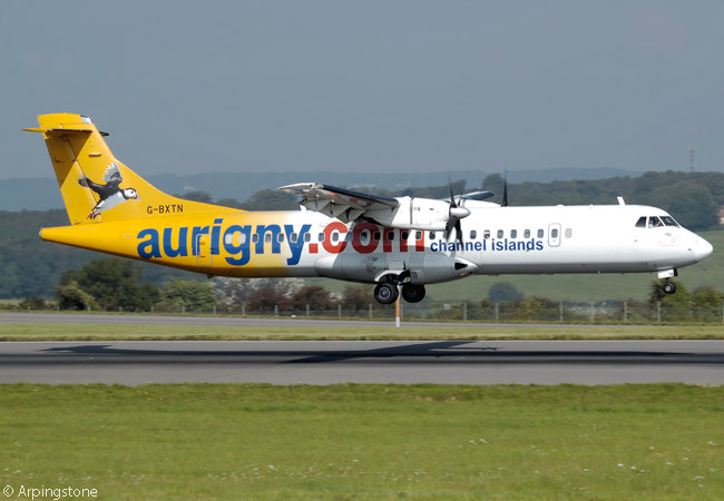 Aurigny Air Services operates two ATR 72-500s, one ATR 72-200 and six Britten-Norman Trislanders as well as an Embraer 195, but decided in April 2014 to begin retiring the elderly Trislanders and replacing them with Dornier 228s. This photograph show ATR 72-202 G-BXTN landing at Bristol Airport