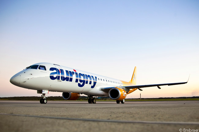 Based at Guernsey Airport in the Channel Islands, regional carrier Aurigny Air Services took delivery of its first commercial jet, an Embraer 195, in early July 2014
