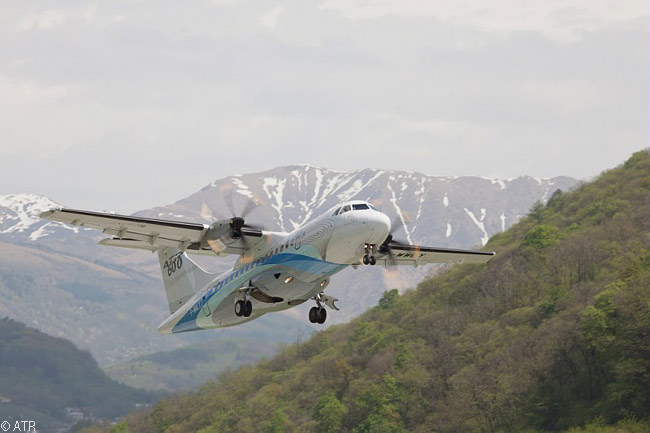 A pre-production ATR 42-600 operated in the certification flight-test program for the turboprop regional airliner type takes off from Lugano Agno Airport in southern Switzerland