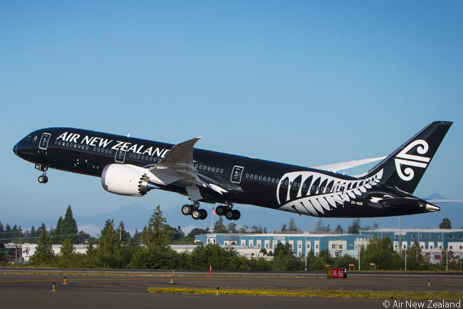 Air New Zealand's first Boeing 787-9, the first 787-9 delivered to any customer, takes off on its 14-hour delivery flight from Everett to Auckland shortly after 7:00 a.m. U.S. West Coast time on July 10, 2014