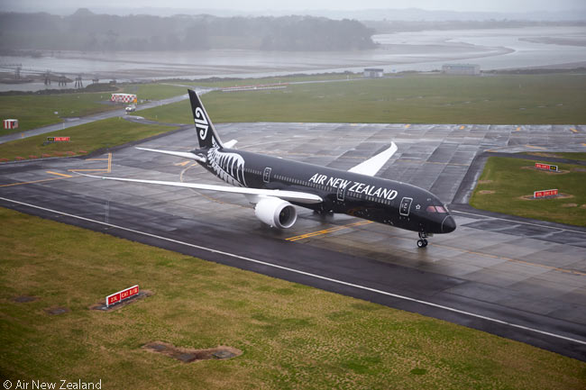 On July 11, 2014 Air New Zealand's first Boeing 787-9 taxis in towards its Auckland Airport docking area after landing following its 14-hour delivery flight from Paine Field in Everett