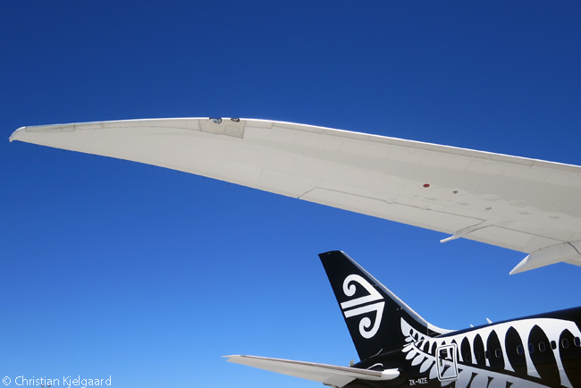 This is a close-up of the raked wingtip of Air New Zealand's first Boeing 787-9, the first 787-9 delivered to any customer