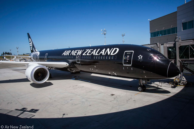 The sleek, shark-like lines of the Boeing 787-9 are very evident in this photograph of Air New Zealand's first Boeing 787-9