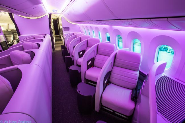 This is what the 18-seat Business Premier cabin looks like in Air New Zealand's Boeing 787-9s. Business Premier is the airline's long-haul Business Class