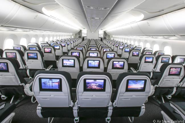 This is a forward-facing view of the Economy class cabin in Air New Zealand's first Boeing 787-9