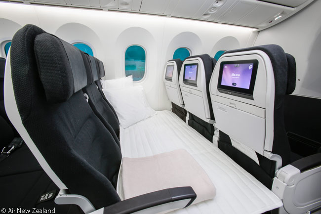 Each Air New Zealand Boeing 787-9 has 14 rows of the airline's unique Skycouch seats. Each Skycouch is a three-seat row which converts into a double bed for two adults or an adult and up to two children. A mattress is placed on top of the seats for sleep