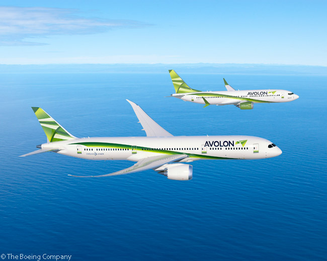 On July 14, 2014, at the Farnborough International Airshow, Boeing and Avolon announced a commitment from the leasing company for six 787-9 Dreamliners and five additional 737 MAX 9 jets, in a deal Boeing valued at more than $2 billion at current list prices. Shown in this computer graphic image are a 787-9 and 737 MAX 9 in Avolon's house colors