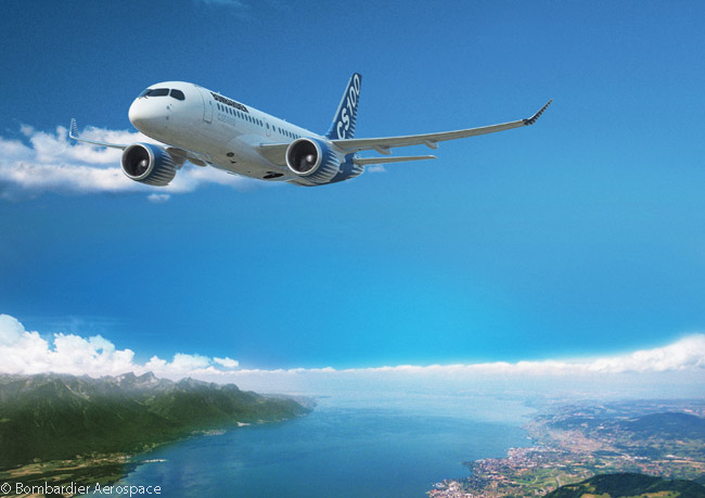 The CS100 is the shorter of the two initial Bombardier CSeries models, It carries from 110 to 130 passengers, depending on whether the operator chooses a two-class or single-class cabin configuration and the seat pitch the operator offers