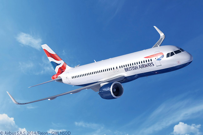 The order for 20 Airbus A320neo-family aircraft which International Airlines Group announced on July 14, 2014 at the Farnborough International Airshow looks to have included both A320neo jets and A321neos. Airbus released this computer graphic image showing an A320neo in BA colors