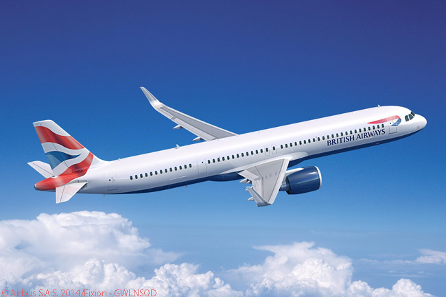 On July 14, 2014, International Airlines Group ordered 20 A320neo-family jets to replace 21 aircraft now in British Airways' short-haul fleet. The order appears to have included A321neos as well as A320neos and this computer graphic image from Airbus shows an A321neo in British Airways' livery