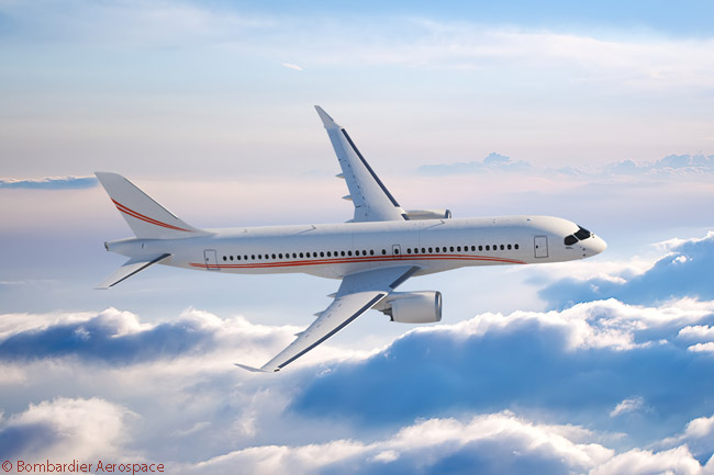 On July 14, 2014, Bombardier announced at the Farnborough International Airshow 2014 that Abu Dhabi-based Falcon Aviation Services had converted a letter of intent for a CS300 jet and an option on another to a firm order for two CS300s