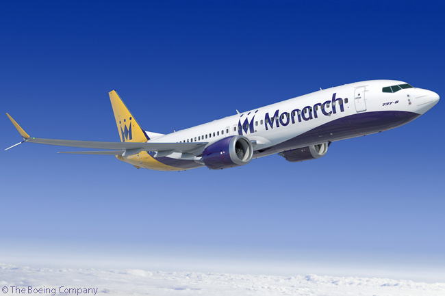 On July 14, 2014, at the Farnborough International Airshow 2014, UK carrier Monarch Airlines confirmed it was in the process of finalizing an order for 30 Boeing 737 MAX jets. This represents a single-aisle fleet transition for Monarch, which has operated Airbus A320-family jets for quite a few years. This computer graphic image shows a Boeing 737 MAX 8 in Monarch Airlines colors
