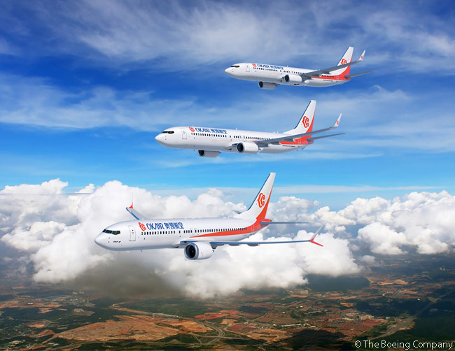 At the Farnborough International Airshow on July 14, 2014, China's Okay Airways announced an order  for six Boeing 737 MAX 8s and four 737-800s, which Boeing valued at $980 million at list prices. Okay Airways also said it was converting an order for five 737-800s to specify Boeing 737-900ERs instead. THis computer graphic image shows a 737 MAX 8, a 737-900ER and a 737-800 in Okay Airways livery