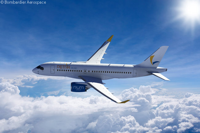 On July 14, 2014, at the Farnborough International Airshow 2014 Bombardier announced that Jordanian carrier Petra Airlines had signed a letter of intent to order two CS100 jets and option two CS300s