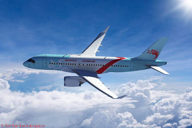 Bombardier announced at the Farnborough International Airshow on July 14, 2014 that Chinese carrier Zhejiang Loong Airlines had signed a letter of intent for 20 CS100 jets