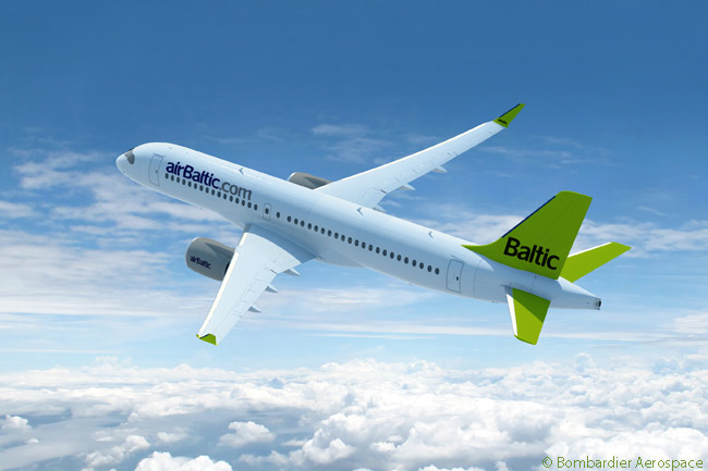Riga, Latvia-based airBaltic was revealed on July 14 at the Farnborough International Airshow as the undisclosed existing customer which had placed an additional order for three Bombardier CS300 jets, increasing its firm purchase of the type by July 2014 to 13 aircraft. AirBaltic also held options on seven more CS300s