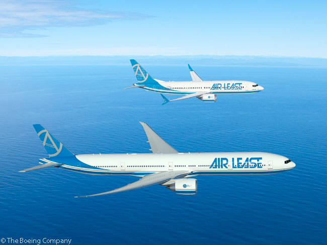 At the Farnborough International Airshow on July 15, 2014, Air Lease Corporation announced an order for 26 Boeing jets – six 777-300ER widebodies and 20 737 MAX 8 aircraft. Boeing valued the order at $3.9 billion at list prices. Shown in this computer graphic image are a Boeing 777-300ER and 737 MAX in ALC's house livery