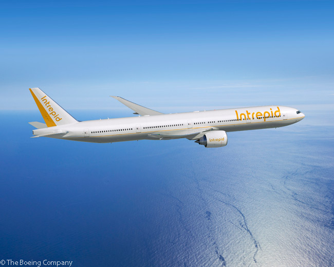 On July 15, 2014, at the Farnborough International Airshow, lessor Intrepid Aviation placed its direct order with Boeing order for 777-300ERs, ordering six of the type. Boeing valued the order at $1.9 billion at list prices. This computer graphic image shows a Boeing 777-300ER in Intrepid Aviation's house livery