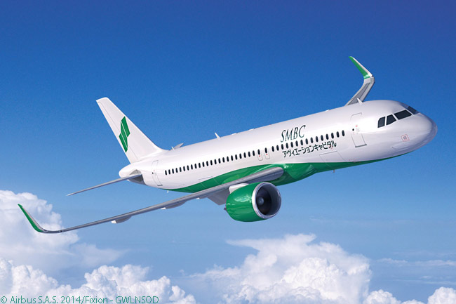 On July 15, 2014, at the Farnborough International Airshow, lessor SMBC Aviation Capital placed a 115-aircraft order for A320-family jets. Airbus said the order was the the aviation industry's largest-ever single firm order by a leasing company for single-aisle aircraft. The order included 110 A320neo-family jets and this computer graphic image shows an A320neo in SMBC Aviation Capital's house colors