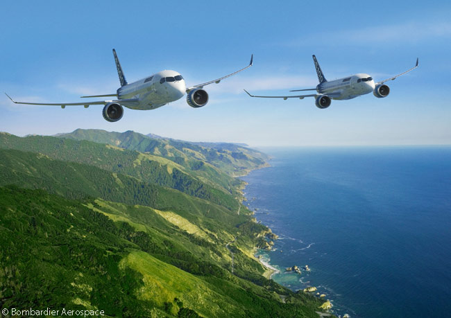 The first two members of the Bombardier CSeries family to be developed are the CS100, shown on the right, which seats from 110 to 130 passengers. The longer CS300, left, seats from 135 to 160 passengers. By the time of the Farnborough International Airshow 2014, in July 2014, Bombardier Aerospace had won orders and commitments for more than 500 CSeries jets