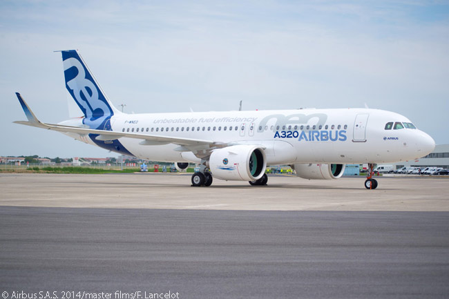 Airbus rolled out the first flight-test A320neo on July 1, 2014 and just over two weeks later announced that A320neo-family firm orders had exceeded the 3,000-aircraft mark, substantially less than four years after it launched the A320neo program in December 2010