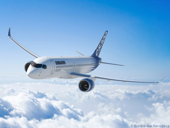The Bombardier CS300 is the larger of the two initial versions of the new CSeries airliner family. It can carry up to 160 passengers in single-class cabin configuration