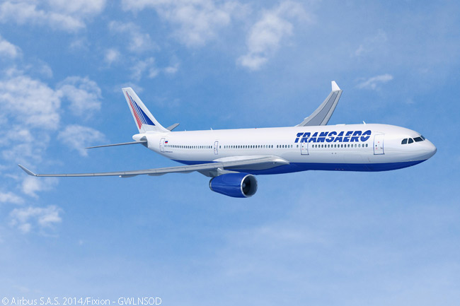 Airbus announced on July 17, 2014 at the Farnborough International Airshow that Russian carrier Transaero Airlines had signed a letter of intent for 10 A330s and 10 A33-neo aircraft. The manufacturer said the airline planned to use the aircraft as part of a major fleet modernization and expansion program. This computer graphic image from Airbus shows an A330-300 in Transaero Airlines colors