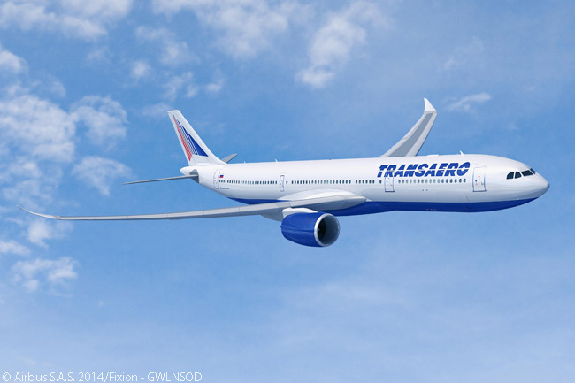 On July 17, 20114, at the Farnborough International Airshow, Russia's Transaero Airlines signed a letter of intent for 10 Airbus A330neo jets and 10 Airbus A330s. In doing so it became the fifth launch customer for the new A330neo family. This computer graphic image from Airbus shows an A330-900neo in Transaero Airlines' livery