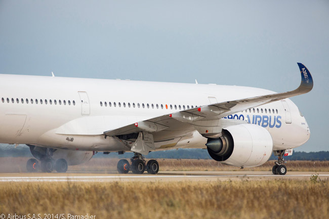 On July 22, 2014, A350-900 MSN001, the first flight-test A350 XWB jet, successfully completed Maximum Energy Rejected Take-Off certification tests at Istres Air Force Base in France. These tests are required for aircraft type certification for any new commercial jet type. Note in the photo that the aircraft's main-wheel carbon brakes are red-hot from absorbing the heat generated by applying maximum braking at full take-off speed