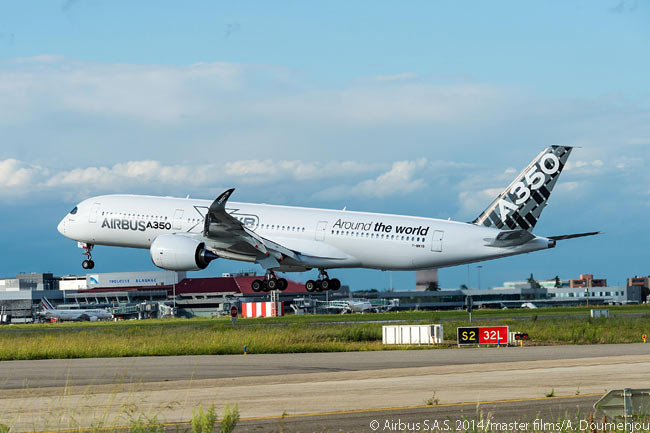 MSN005, the fifth flight-test Airbus A350-900, lands at Toulouse-Blagnac Airport on August 13, 2014 after completing the final leg of a 20-day route-proving tour worldwide. The 81,700nm (151,300km) tour saw the aircraft fly over each of the Earth's oceans, as well as over the North Pole, and land at 14 major international airports throughout the world