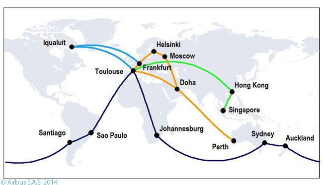This graphic shows the four multi-stage flight itineraries that the fifth flight-test Airbus A350-900 carried out throughout the world in performing the technical route-proving flight trials required for A350-900 type certification. The trials lasted from July 24 until August 13, 2014