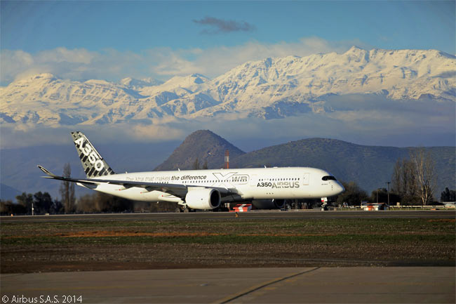 The fifth flight-test A350-900 is seen here making another first A350 XWB visit, during the third of four global route-proving trips. The aircraft is shown arriving in Santiago de Chile on August 7, 2014, after stopovers in Johannesburg, Sydney and Auckland