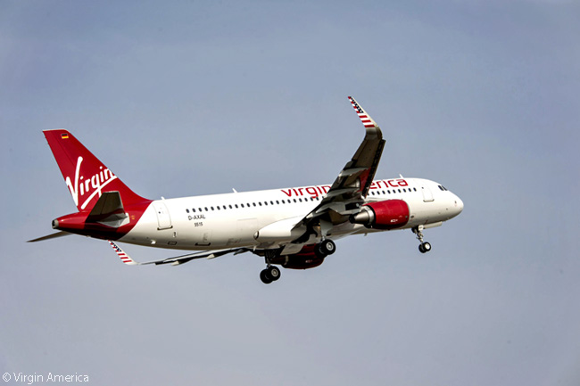 Virgin America has symbolic American flags painted on the Sharklets of its new Airbus A320s