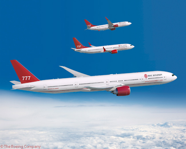 On August 25, 2014, Singapore-based lessor BOC Aviation ordered 50 737 MAX 8s, 30 737-800s and two 777-300ERs. The order, which Boeing valued at $8.8 billion at list prices, was the largest in BOC Aviation's 20-year history. Pictured here are a 777-300ER, a 737 MAX and a 737-800 in BOC Aviation's house colors