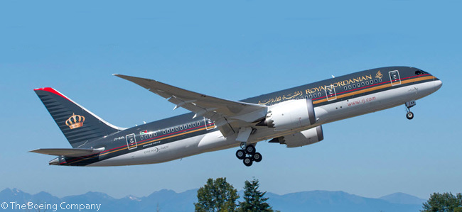 Royal Jordanian's first Boeing 787, a 787-8, is shown here taking off on its delivery flight to Amman on August 27, 2014