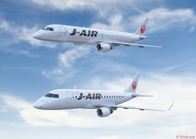 Japan Airlines signed a firm order for a total of 15 Embraer E-Jets on August 28, 2014, and optioned 12 more. The order consisted of unspecified numbers of Embraer 170s and Embraer 190s and the aircraft were to join an existing fleet of 15 Embraer 170s operated by J-Air, JAL's domestic regional-airline subsidiary