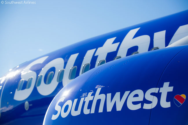 Southwest Airlines' new corporate logo, unveiled on September 8, 2014, pairs the carrier's new 'Heart' logo next to the name 'Southwest' in a large sans-serif font, with 'Southwest' rendered mainly in lower-case letters