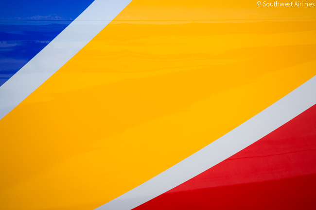 In Southwest Airlines' new aircraft livery and corporate colors, which the carrier unveiled on September 8, 2014, Southwest has continued to use the color palette and striped tail that has identified the carrier since the early 21st Century