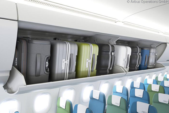 Airbus has developed larger, pivoting overhead bins as a new customer option for A320-family aircraft. Delta Air Lines is the first customer for the new, larger bins, having chosen to install them in 45 Airbus A321s it ordered for delivery from the first quarter of 2016