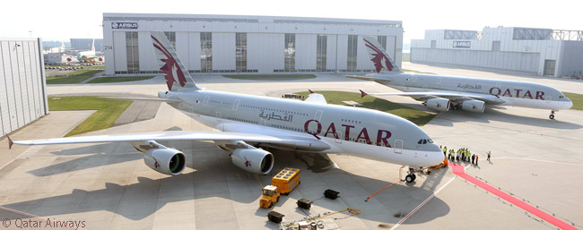 After taking delivery of its first A380 on September 17, 2014, Qatar Airways was scheduled to receive three more before the end of the year. The carrier was due to receive six more A380s later