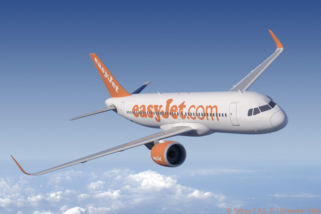 UK-based low-cost carrier, Europe's second-largest, ordered 100 Airbus A320neos on July 11, 2013 and acquired purchase rights on 100 more. At the same time it ordered 35 more A320 'current engine option' jets and optioned another 35. This computer graphic image shows an A320neo in easyJet colors