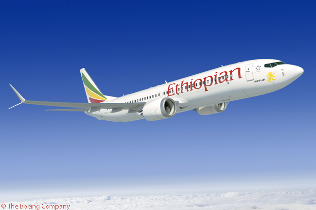 On September 20, 2014, Ethiopian Airlines was revealed as the customer for a firm order for 20 Boeing 737 MAX 8s, the carrier also securing options and purchase rights for a further 15 737 MAX 8s. The order represents the largest single Boeing order from an African carrier in terms of the number of aircraft involved. This computer graphic image shows a Boeing 737 MAX 8 in Ethiopian Airlines' livery