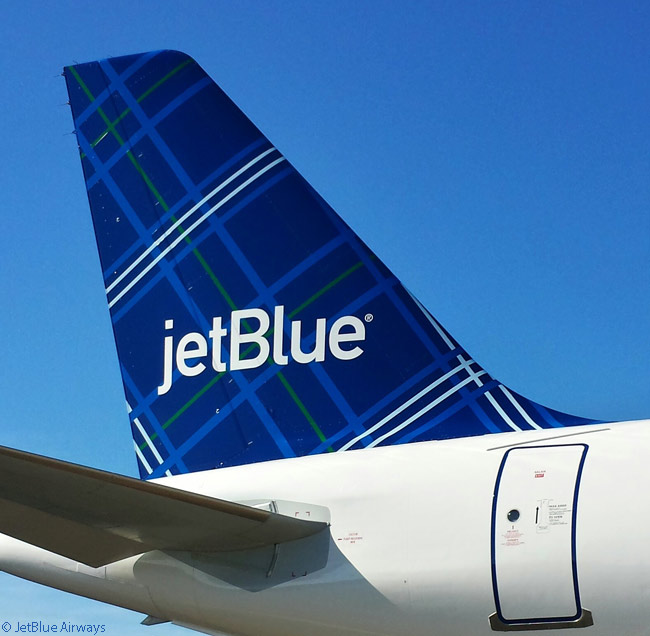 This is a close-up look at JetBlue Airways' 'Tartan' tailfin paint scheme, which the airline unveiled on September 24, 2014
