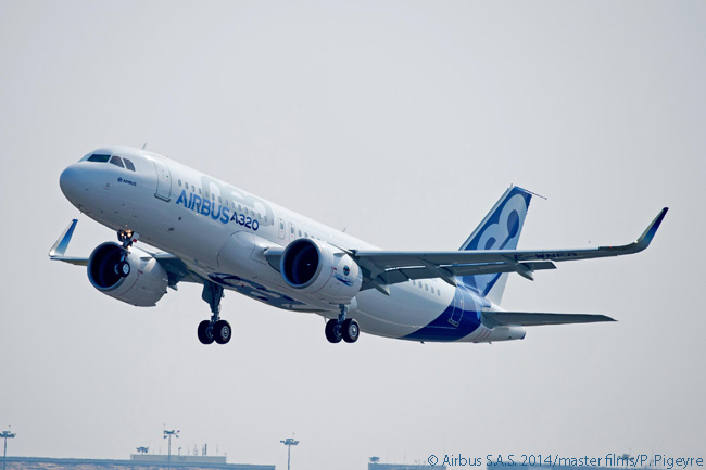 The Airbus A320neo made its maiden flight on September 25, 2014, taking off from Toulouse-Blagnac Airport around noon for a first flight of approximately two-and-a-half hours over southern France before landing back at the same airport