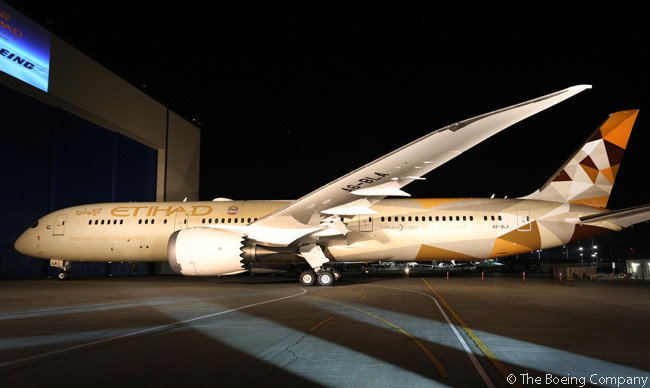 In the early hours of September 28, 2014, Boeing rolled out of its paint hangar the first 787-9 Dreamliner for Etihad Airways. The aircraft was painted in the airline's new 'Facets of Abu Dhabi' livery, which features colors reminiscent of the desert landscape and the design of which draws on the culture, Islamic design and architecture motifs of the United Arab Emirates
