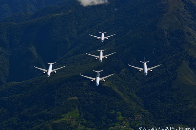 The five Airbus A350-900s used in the type certification program are captured here flying in close formation