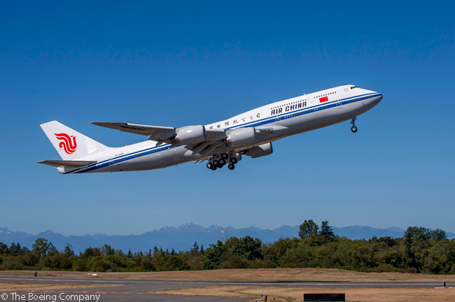 Air China took delivery of its first Boeing 747-8 Intercontinental passenger jumbo on September 29, 2014, becoming the first carrier in Asia to operate the 747-8I. Pictured here is the airline's first 747-8 Intercontinental, one of seven ordered by Air China, during a pre-delivery test flight