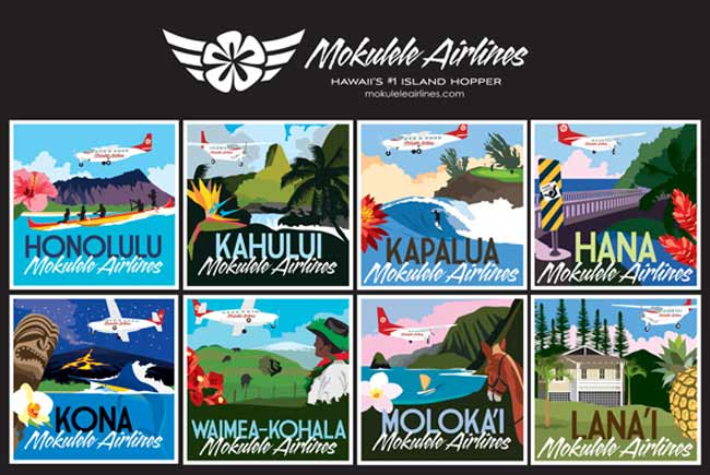 Hawaiian regional carrier Mokulele Airlines uses this colorful, attractive poster to highlights its destinations throughout the island state