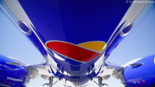 Southwest Airlines' new livery includes a heart painted on the bottom of the aircraft's fuselage