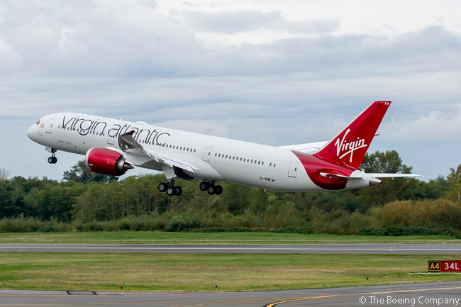 Virgin Atlantic Airways' first Boeing 787-9 completed its delivery flight to London Gatwick Airport on October 10, 2014. The aircraft is pictured here taking off on a pre-delivery test flight from Paine Field at Everett in Washington state